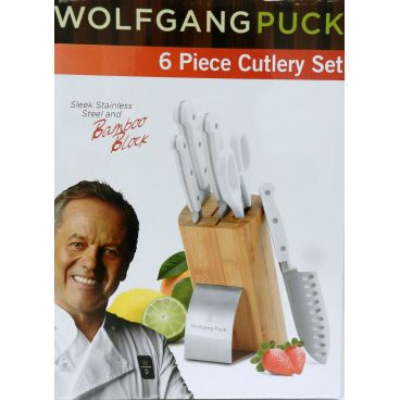 Wolfgang Puck 6 Piece Cutlery Set With Stainless Steel & Bamboo Storage Block